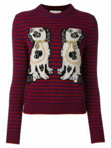 Gucci dog patch stripe top - Red