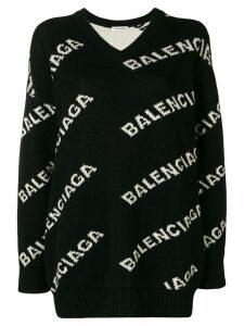Balenciaga V-neck logo sweater - Black