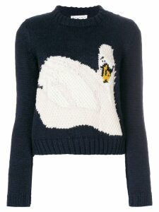 JW Anderson intarsia swan knitted sweater - Blue