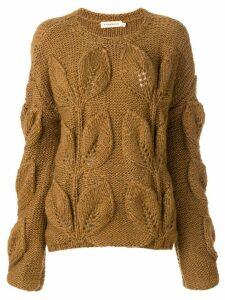 Oneonone textured leaf jumper - Neutrals