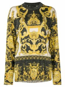 Versace Baroque print glittered jumper - Yellow
