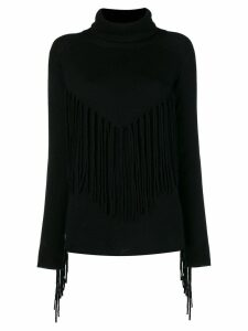 P.A.R.O.S.H. fringed roll neck sweater - Black