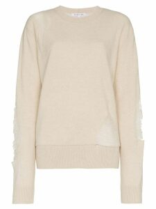 Helmut Lang distressed wool blend sweater - Neutrals