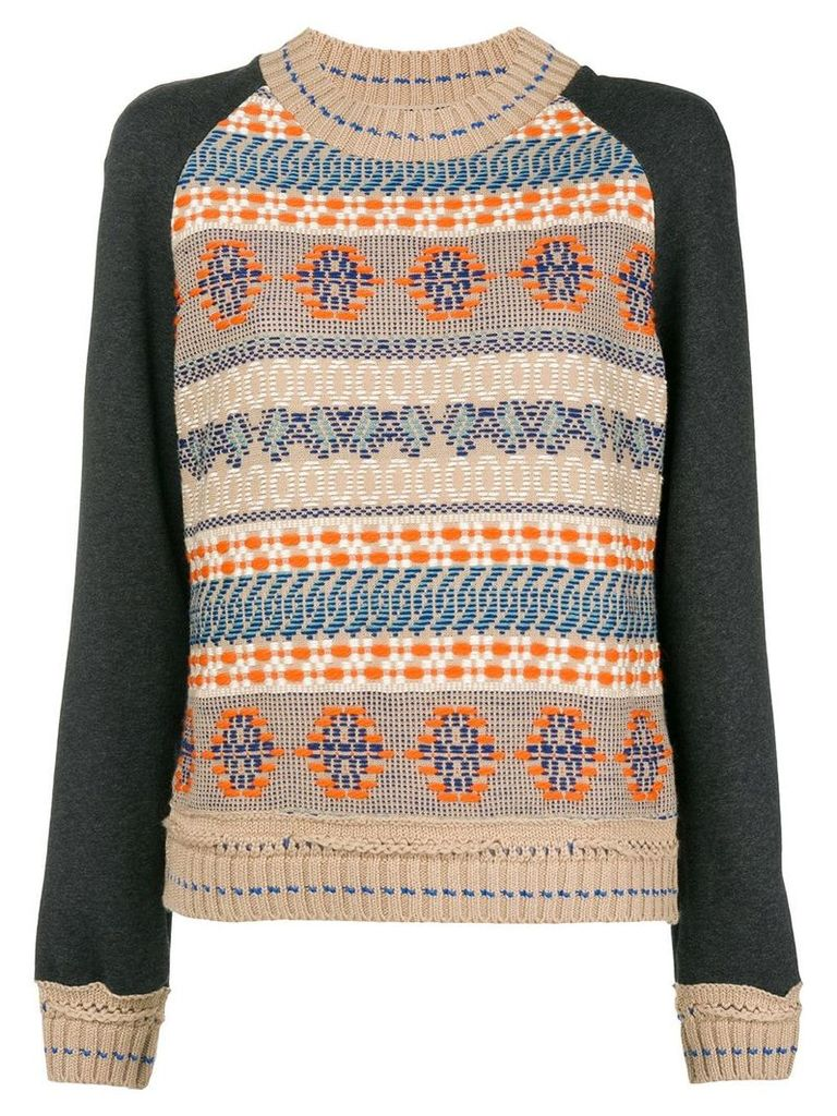 Miahatami embroidered crew neck sweater - Neutrals
