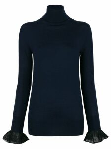 Sacai frill cuff turtleneck sweater - Blue