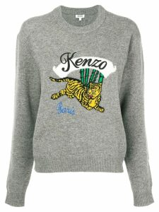 Kenzo embroidered tiger sweater - Grey