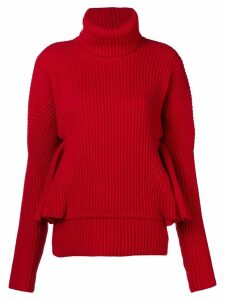 Antonio Berardi ruffle sleeve sweater - Red