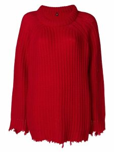 R13 distressed loose sweater - Red