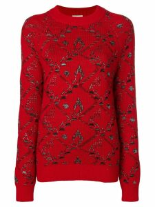 Saint Laurent motif knit jacquard jumper - Red