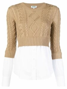 Kenzo ribbed knit contrast shirt - Neutrals