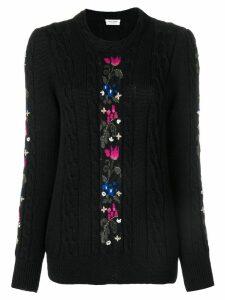 Saint Laurent floral knit sweater - Black