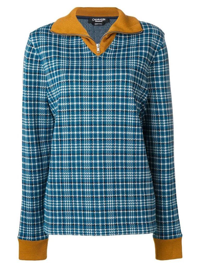 Calvin Klein 205W39nyc zip up tartan jumper - Blue