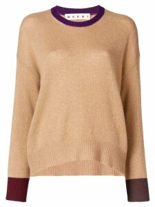Marni contrast-cuff fitted sweater - Brown