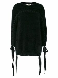 Fendi tie detail fuzzy-knit sweater - Black