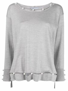 Blumarine pearl embellished fine-knit sweater - Grey