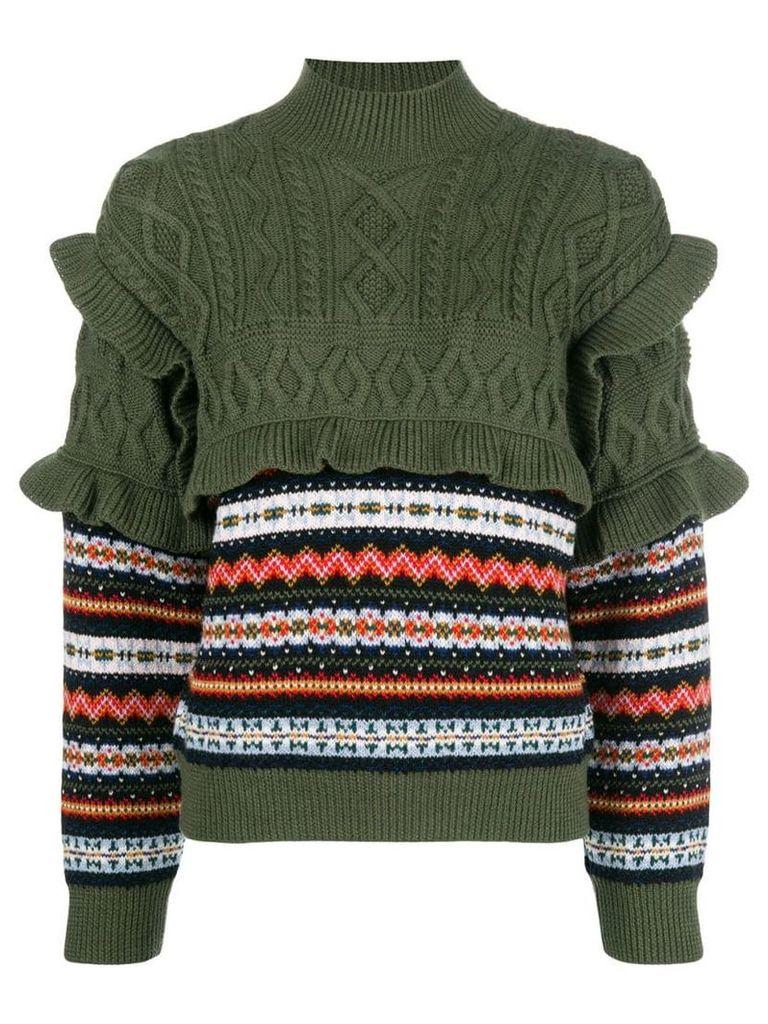 Philosophy Di Lorenzo Serafini striped cable knit jumper - Green