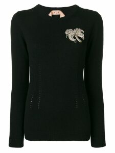 Nº21 knitted embellished jumper - Black