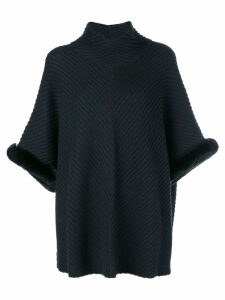 N.Peal fur trim diagonal rib poncho - Grey