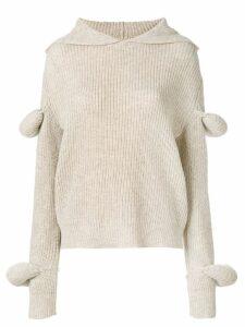 JW Anderson desert rib-knit hoodie with puff sleeves - Brown