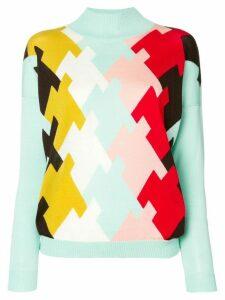 Delpozo intarsia turtleneck sweater - Blue