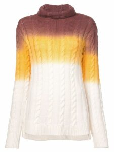 Sies Marjan colour block cable knit sweater - White