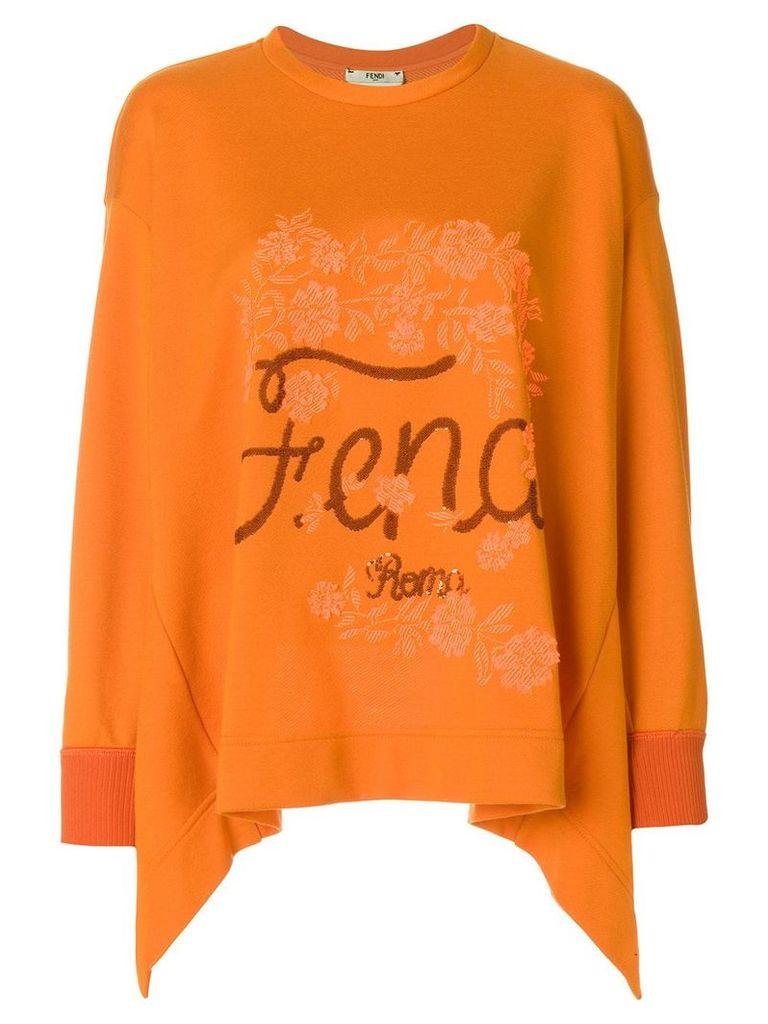 Fendi flared logo sweater - Yellow