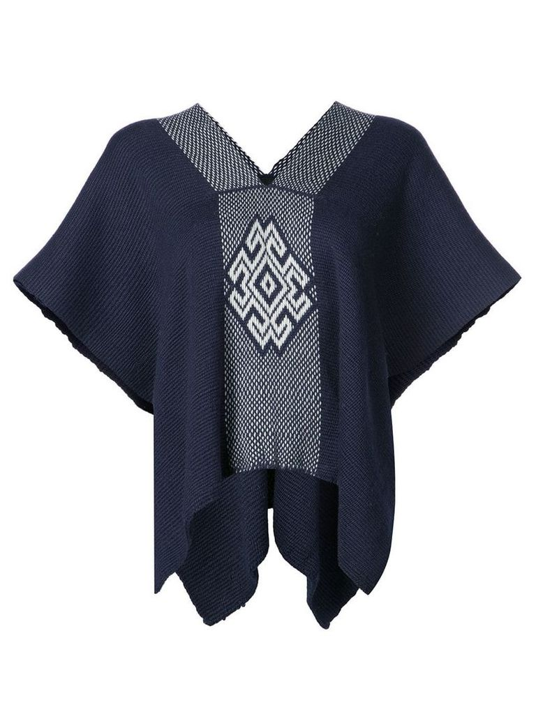 Voz V-neck draped sleeved top - Blue
