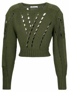 T By Alexander Wang cut-detail sweater - Green