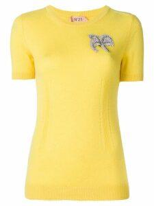 Nº21 embellished short-sleeve sweater - Yellow