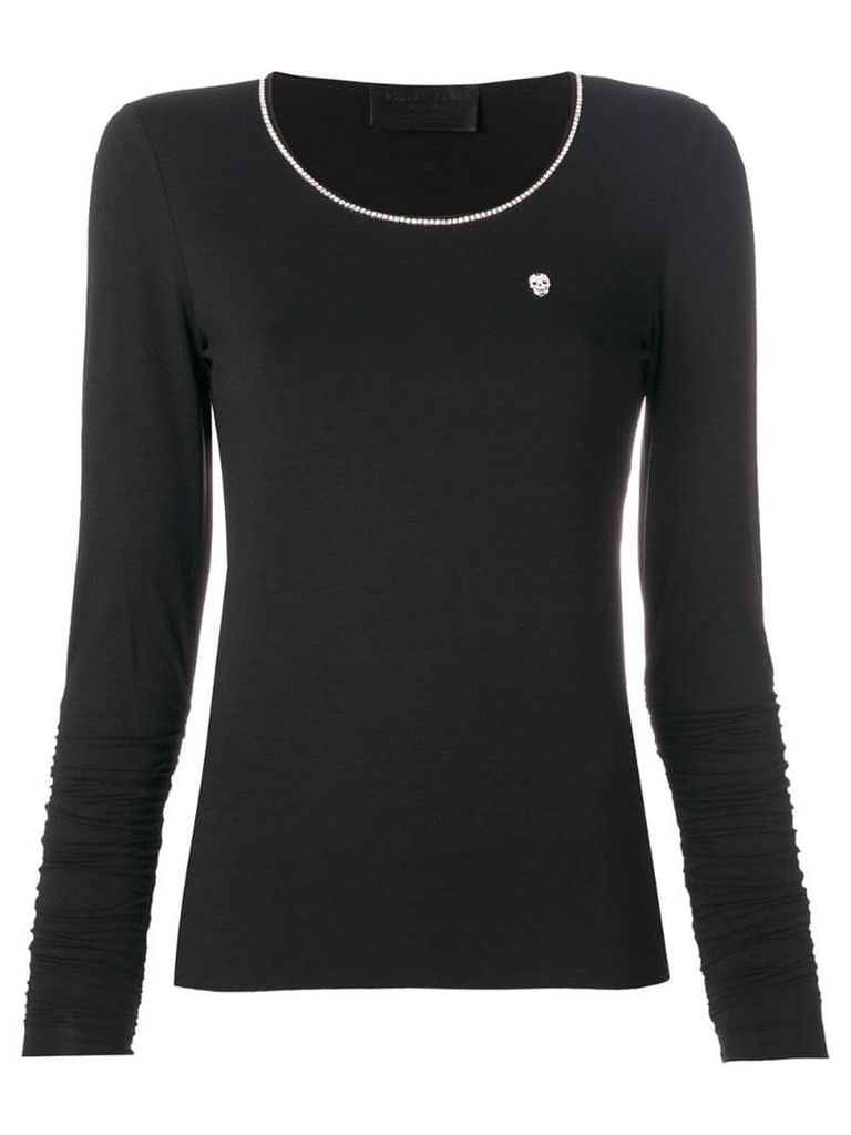 Philipp Plein long sleeve T-shirt with metallic detailed neck - Black