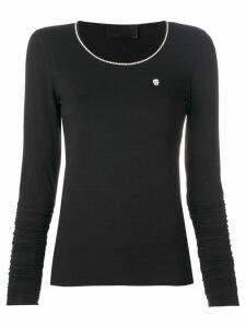 Philipp Plein long sleeve T-shirt with metallic detailed neck - Black