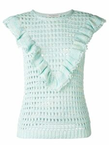 Philosophy Di Lorenzo Serafini ruffle trim open-knit top - Green