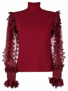 Antonio Berardi sheer contrast sleeved top - Red