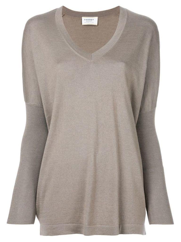 Snobby Sheep v-neck knitted sweater - Grey