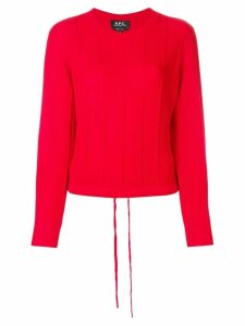 A.P.C. ribbed knit cropped top - Red
