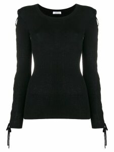 P.A.R.O.S.H. laced sleeves knitted top - Black