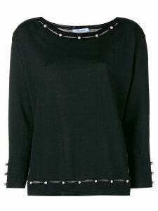 Blumarine pearl embellished knitted top - Black