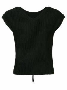 Le Ciel Bleu short-sleeve fitted sweater - Black