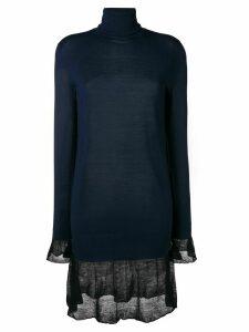 Sacai roll neck sweater dress - Blue