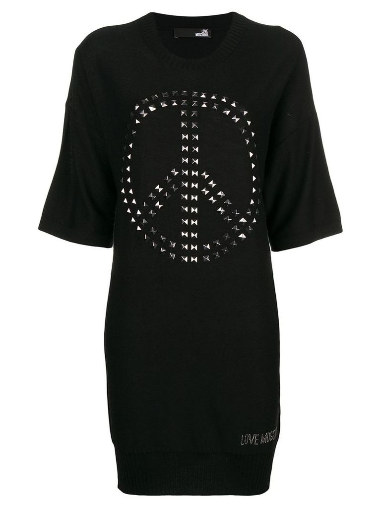 Love Moschino knitted embellished sweater dress - Black