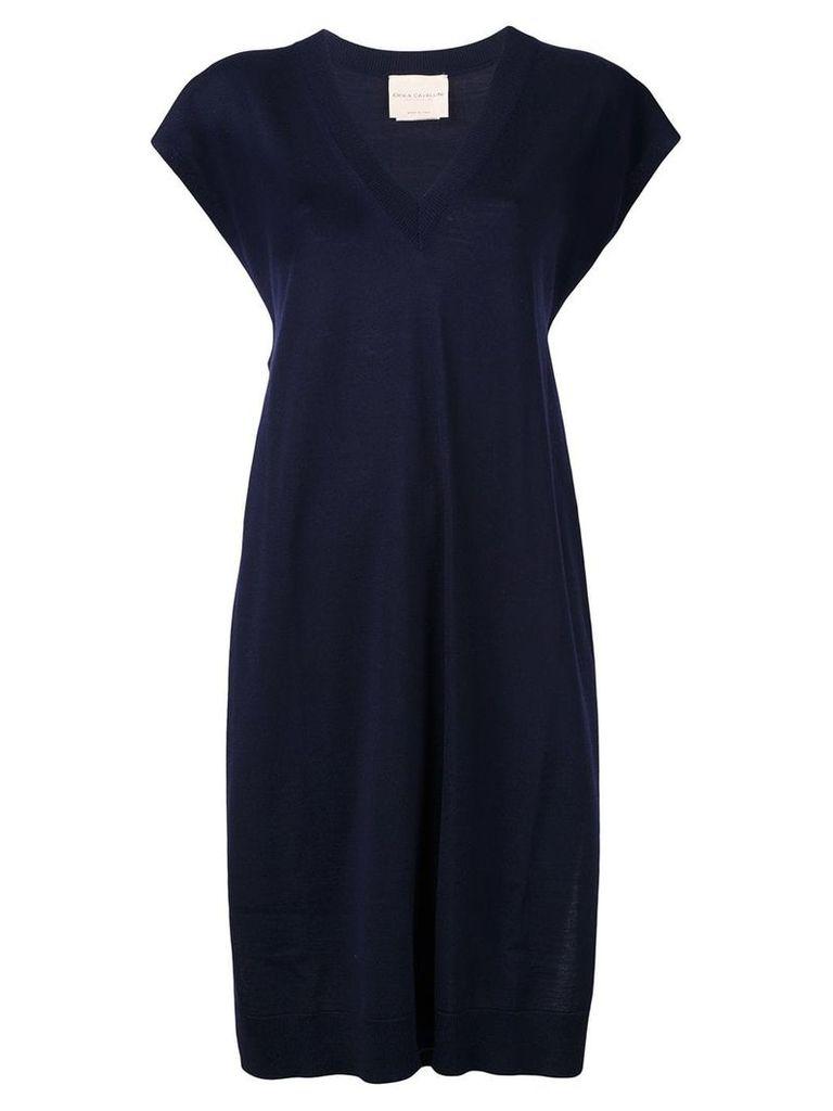 Erika Cavallini V-neck side slits dress - Blue
