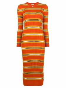 Courrèges striped fitted knitted dress - Orange