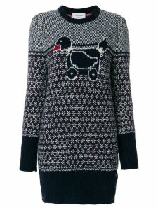 Thom Browne Pullover Dress With Duck Toy Icon In Mohair Tweed - Blue