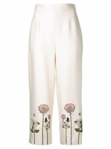 Vilshenko embroidered flower cropped trousers - White