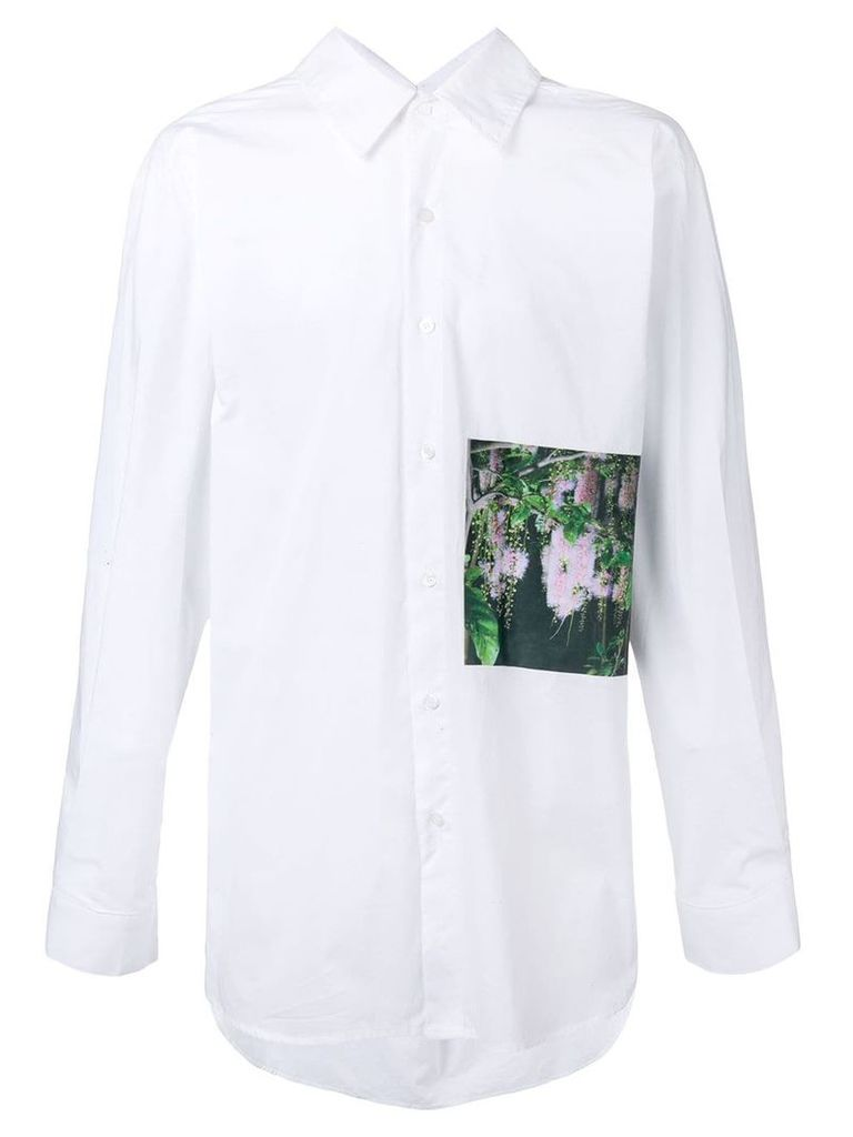 Yuiki Shimoji floral print patch long-line shirt - White