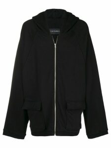 Yuiki Shimoji floral print oversized zipped hoodie - Black