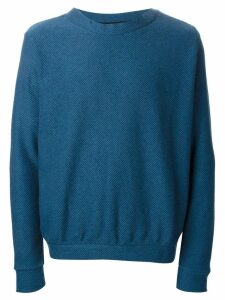 The Elder Statesman Cooked Cashmere Herring Crew Neck - Blue