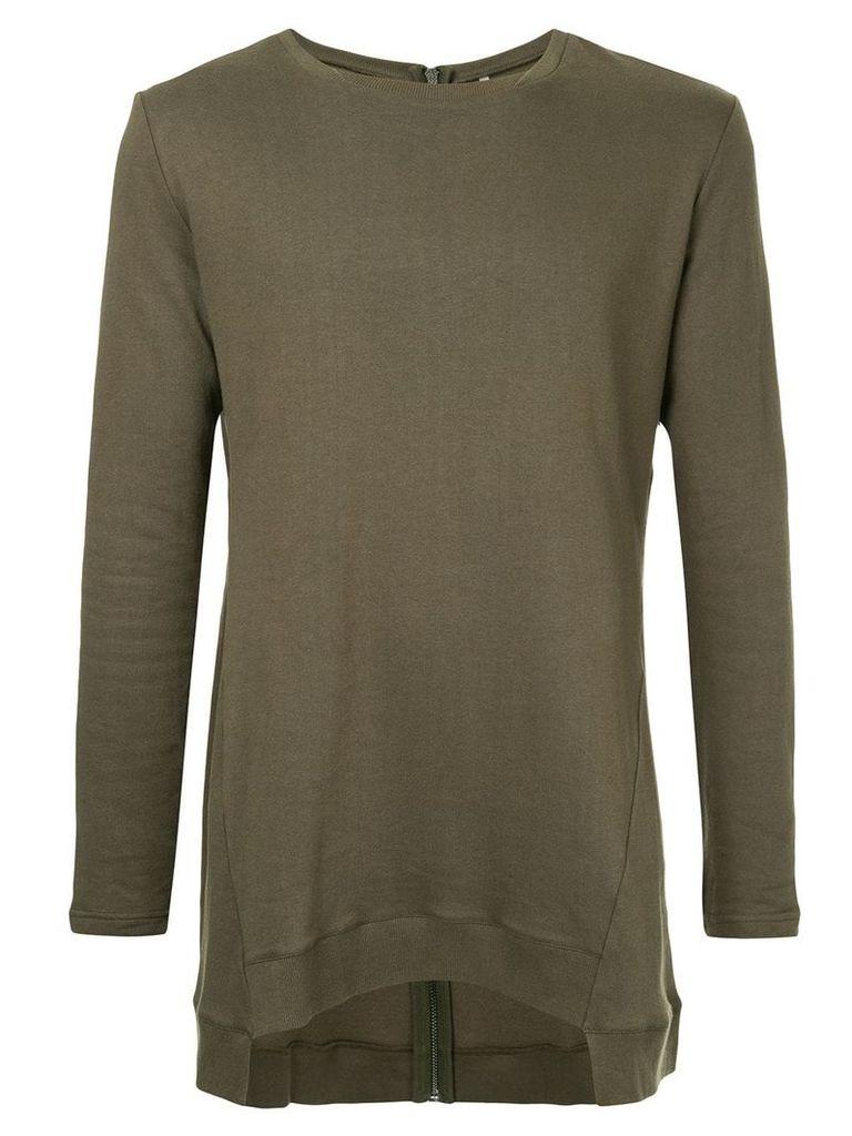 First Aid To The Injured back zip asymmetric sweatshirt - Green