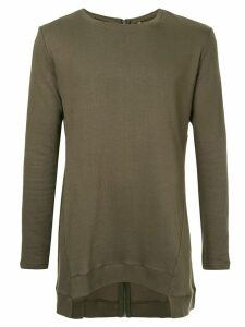 First Aid To The Injured back zip asymmetric sweatshirt - Green