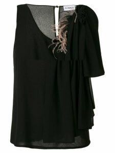 Ainea asymmetric sleeve blouse - Black